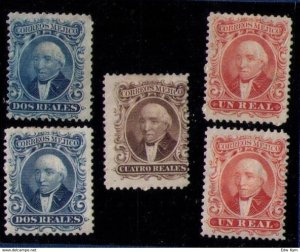 Mexico MLH Sc 14-16 With Doubles Lot Of Five Total (1864) Hidalgo VF