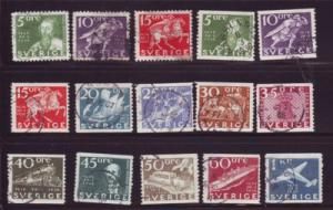 Sweden Sc 248-62 1936 300th anniv Post Office stamps used