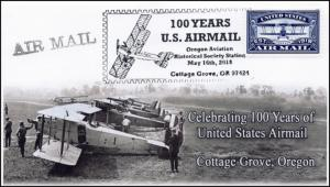 18-121, 2018, Airmail 100 years, Cottage Grove OR, Pictorial, Event Cover,