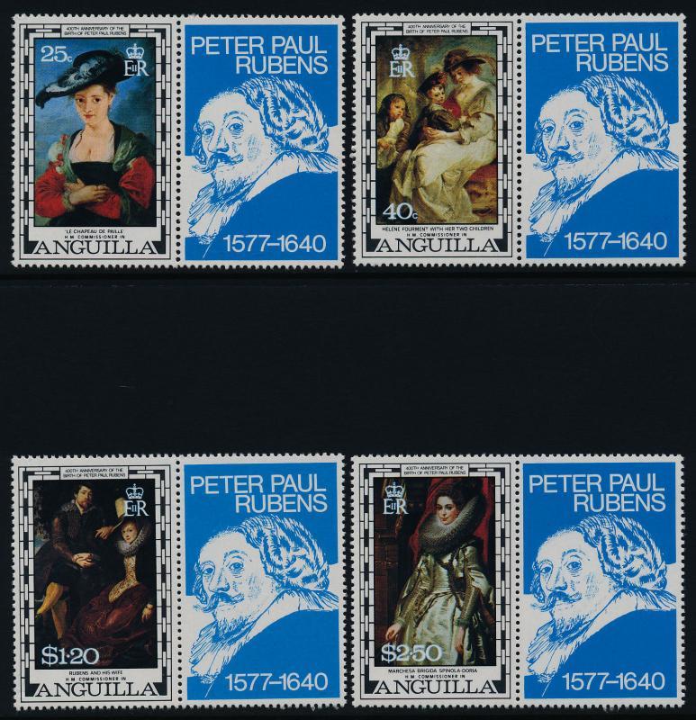 Anguilla 301-4 + labels MNH Art, Peter Paul Rubens, Paintings