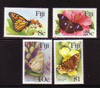 Fiji Sc 523-6 1985 Butterflies stamp set mint NH