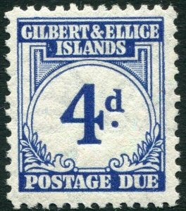 GILBERT & ELLICE ISLANDS-1940 4d Blue Postage Due Sg D4 LIGHTLY MOUNTED MINT