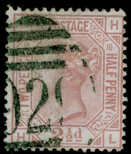 SG141, 2½d rosy mauve PLATE 10, USED. Cat £60. HL