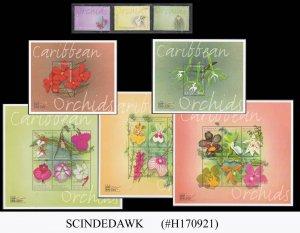 ST. VINCENT GRENADINES - 2000 ORCHIDS FLOWERS - 3-STAMPS & 5-MIN/SHT MNH