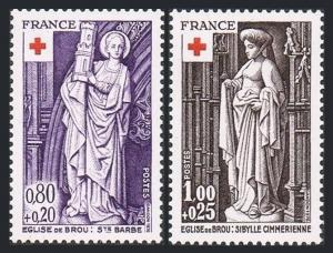 France B496-B497.MNH.Michel 2001-2002. Red Cross-1976:Sculptures.Brou Cathedral.