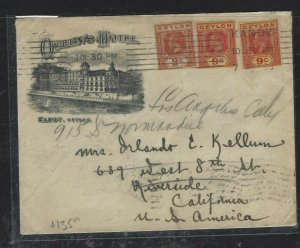 CEYLON (P0808BB) 1928  KGV 9CX2+2C QUEENS HOTEL KANDY COVER TO USA
