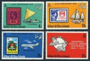 Gilbert & Ellice 226-229,MNH.Michel 221-224. UPU-100,1974.Sailing ships,Jet.