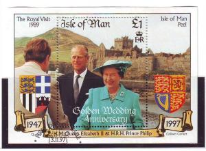 Isle of Man Sc 762 1997 Golden Wedding stamp sheet used