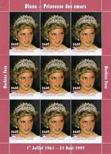 Burkina Faso 1997 PRINCESS DIANA Sheet Perforated Mint (NH)