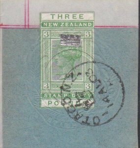 NEW ZEALAND 1880 LONG TYPE STAMP DUTY £3 used on piece - ...................J188