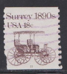 US #1907 Surrey Used PNC Single plate #11 with purple cancel