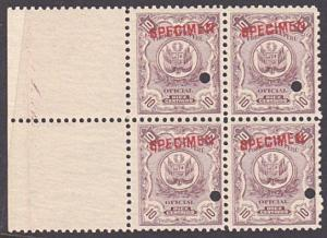 PERU 1909 OFFICIAL 10c optd SPECIMEN in red + security punch hole blk 4.....7926