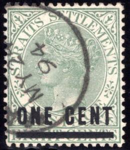 82 Straits Settlements, Surcharged 1c on 8c gray green, used, May 24, 1894 cance
