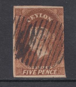 Ceylon Sc 6 used 1857 5p chestnut Queen Victoria, 3 margins, sound