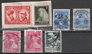 Romania Used & Mint OGH on paper