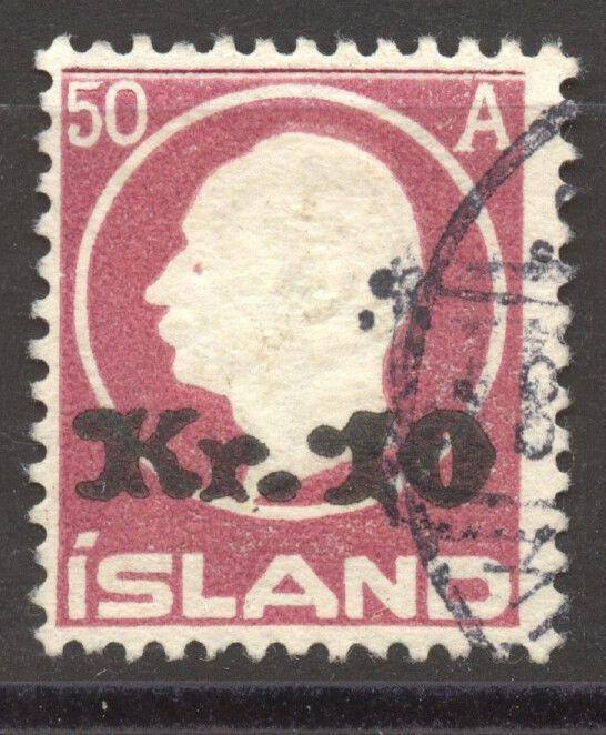 Iceland 1924 Overprint Scott # 140, the 10 Kr., VF ++ used , no faults, RARE !!