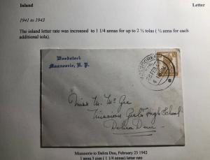 1942 Mussoorie India Rate Increased Letter Cover To Delira Duu
