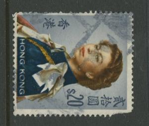 Hong Kong - Scott 217a -QEII Definitive Issue-1966 -Used-  Single $20.00c Stamp