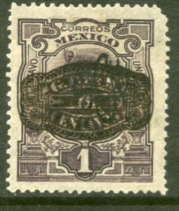 MEXICO 587, 5¢ ON 1¢ CARRANZA + BARRIL SURCHARGE UNUSED, H OG. F-VF.