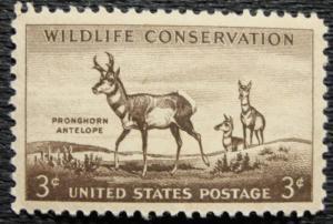 US #1078 MNH Single Pronghorn Antelope SCV $.25 L16
