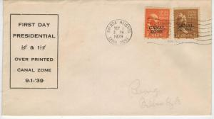 1939 CANAL ZONE OVERPRINTS 1939 FDC on 803 + 805 USA Presidentials B Franklin