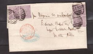 Great Britain #51 Two Used Pairs On Cover To Uruguay Malking 24d Rate