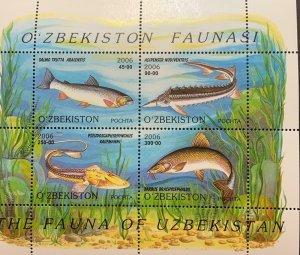 Uzbekistan MNH S/S Fresh Water Fish 2006 4 Stamps