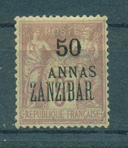 French Offices in Zanzibar sc# 28 (2) mh cat val $72.50