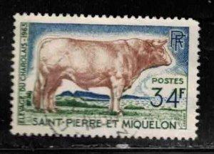 ST PIERRE & MIQUELON Scott # 373 Used - Cattle, Charolais Bull