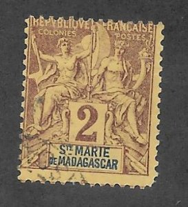 St. Marie de Madagascar Scott 2 Used Navigation&Commerce stamp  2017 CV $2.75