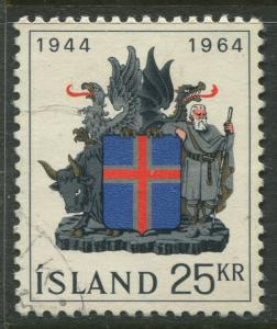 Iceland - Scott 362 - General Issue -1964 - VFU - Single 25k Stamp