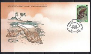 Virgin Is. FDC card Sc 373 Cousteau Society Tulip Shell L13