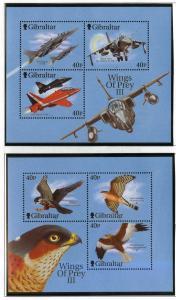 Gibraltar 2001,Fighter planes & Raptors  MNH S/Sheets  # 889c-d