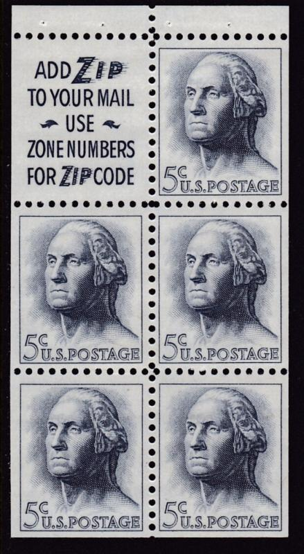 United States 1962 5c Washington 2 Slogan Booklet Pane Scott 1213a. VF/NH