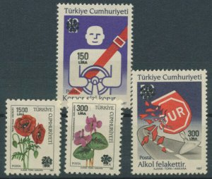 Turkey / 1990, SURCHARGED FLOWERS & TRAFFIC COMPLETE SET, MNH