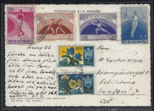 SAN MARINO (PP0308B)  6 STAMPS, 4 SPORTS ON PPC TO SWEDEN