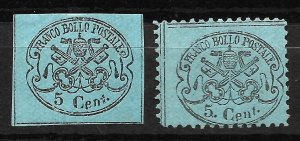 Doyle's_Stamps: Roman States, Italy, 1867 Postage Stamps, #14* & #21*    (L34)