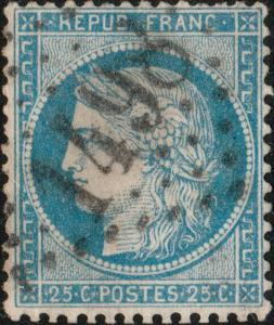 FRANCE - Yv.60A 25c bleu (type I) - obl. GC1498 (La Ferté-St-Aubin) -