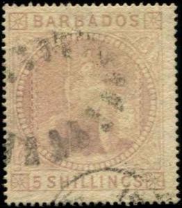 Barbados SC# 43 SG# 64 Britannia  5 SHillings Used  scv $375.00