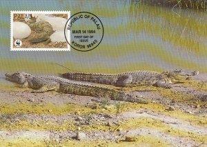 Palau 1994 Maxicard Sc #323b 20c Estuarine crocodile WWF