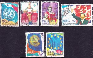 MALTA 1989 25th Anniv of Independence Set Multicoloured SG842/847 FU