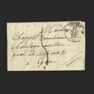 FRANCE, FOLDED LETTER STAMPLESS, ISSUED 1837