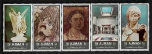 Ajman Michel #2059A-63A MNH Strip - Ancient Art