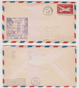 USA 1948 ADDITION OF POUGHKEEPSIE, NY TO AM ROUTE 72 FF COVER TO S. LOUIS, MO