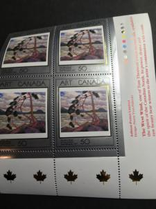Canada Art USC #1271 Cat. C$6.50. LR Imprint Block The Westwind By Thompson VFNH