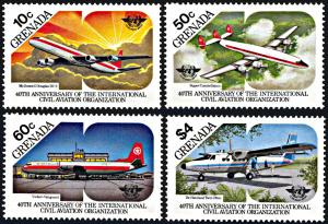 Grenada 1270-1273, MNH, 40th Anniversary Civil Aviation Organization