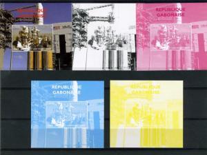 Gabon 2009 SPACE Astronauts Apollo Progressive Color Proofs + original