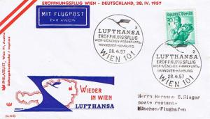Austria 70g Wachau Lower Austria Costume 1957 Lufthansa Eroffnungsflug Wien-M...