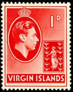 BRITISH VIRGIN ISLANDS SG11a, 1d scarlet, LH MINT.