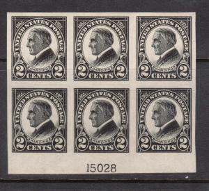 USA #611 XF/NH Imperf Block Of Six